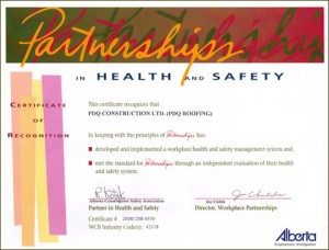 calgary roofing company certificate